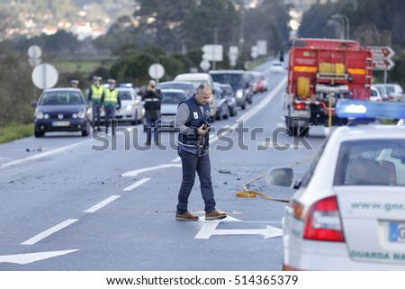 Afife , Viana do Castelo, Portugal - February 25, 2016 : Accident with enough gravity between a bus and a car on the national highway 13 in Afife , Portugal , February 25, 2016 . #514365379