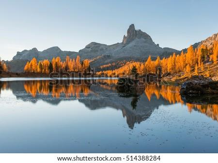 Autumn in Dolomites mountains by lake Federa #514388284