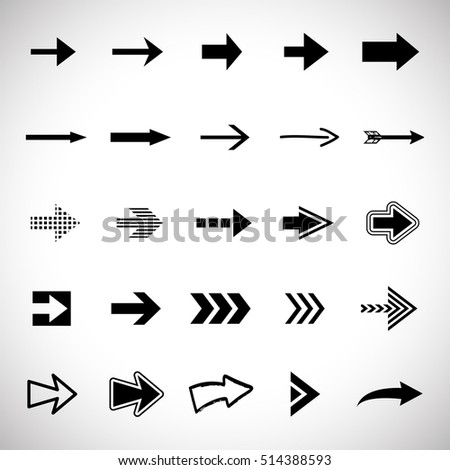 Arrow icons set - vector illustration. Different shape - isolated on gray background, graphic design. Modern color style #514388593