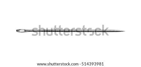 Needle isolated on a white background.  Macro shot. Royalty-Free Stock Photo #514393981