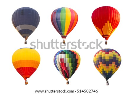 colorful hot air balloons isolated on white background Royalty-Free Stock Photo #514502746