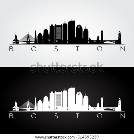 Boston USA skyline and landmarks silhouette, black and white design, vector illustration.