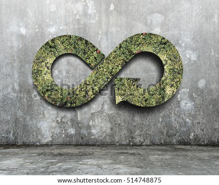 Green circular economy concept. Arrow infinity symbol with grass on concrete wall. #514748875
