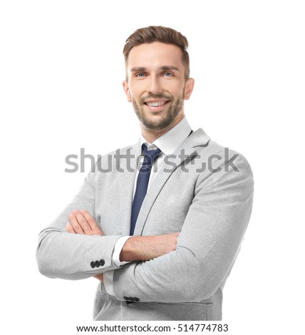 Young businessman on white background #514774783
