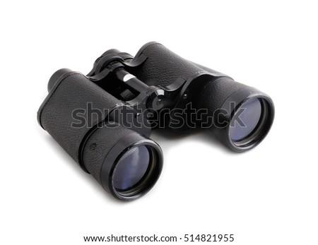 Black binoculars isolated on white background. Royalty-Free Stock Photo #514821955