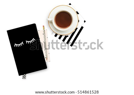 Woman background. Notebook with coffee. Flat lay Royalty-Free Stock Photo #514861528