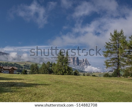 View of Sciliar mountain, most known icon of Alpe di Siusi/Seiser Alm, the highest alpine cultivated pasture, as seen from hiking path 6A, near hotel Icaro, Dolomites, Trentino, South Tyrol, Italy #514882708