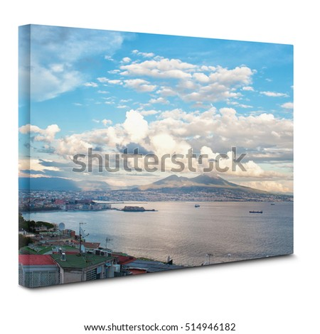 View of  Naples bay on canvas.