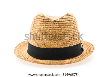 Vintage Straw hat fasion for man isolated on white background #514965754