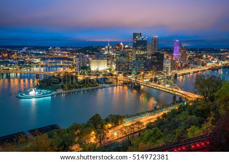 View of downtown Pittsburgh from top of the Duquesne Incline, Mount Washington, in Pittsburgh, Pennsylvania USA #514972381