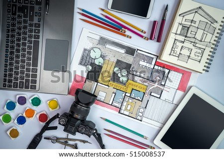 Top view of office desk with equipments, camera, laptop, smart phone, tablet & home architecture illustration / Real estate business conceptual
