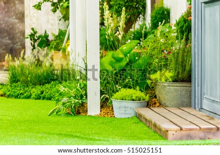 Beauty and relaxing garden with flower pot in cozy home on summer./ Relaxing area in cozy home.