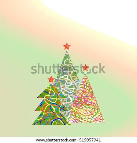 Abstract Christmas trees on a light background, vector illustration #515057941