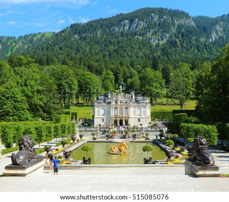 LINDERHOF GERMANY - JULY 8, 2016: Linderhof Palace is a Castle in southwest Bavaria near Garmisch Partenkirchen. The Castle built by King Ludwig II of Bavaria in 19th century. #515085076