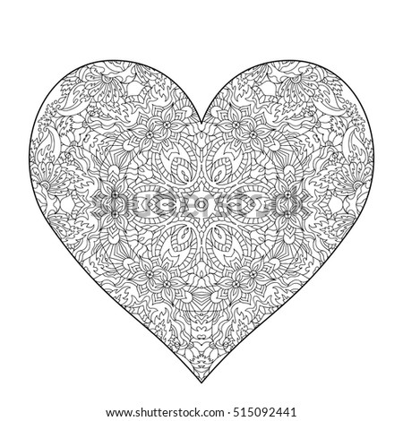 Hand drawn ornate heart for adult anti stress. Coloring page with high details isolated on white background. Zentangle pattern for relax and meditation. Used clipping mask.  #515092441