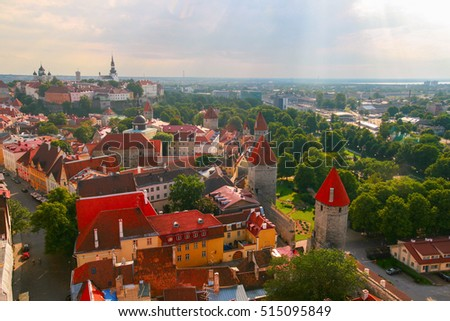 Beautiful Sunny view of the old town with towers and tiles #515095849