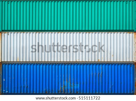 The surface texture of the sea container.Three containers without labels. #515111722