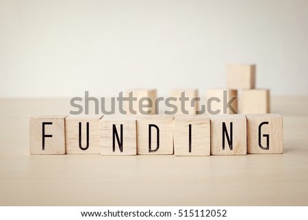Funding word on wooden cubes background, financial business concept #515112052