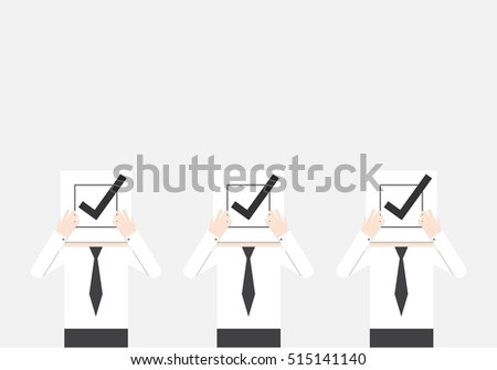 businessmen holding a paper with check box sign, concept of decision making process. choosing people. select to promote. find right answer. career opportunity. unanimous conclusion. building team work #515141140