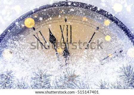 Countdown to midnight. Retro style clock counting last moments before Christmas or New Year. #515147401