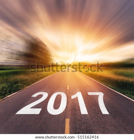 Empty asphalt road and New year 2017 concept. #515162416