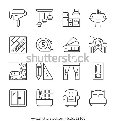 home decoration and furniture thin line icon set, black color, isolated Royalty-Free Stock Photo #515182108