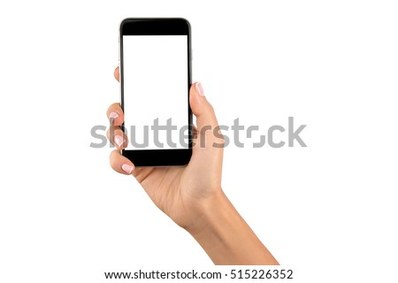 Female hand holding black cellphone with white screen at isolated background. #515226352