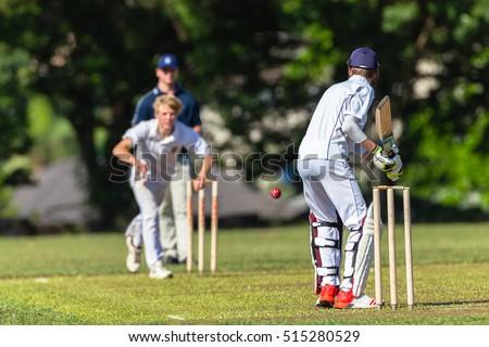 Cricket Batting Bowler Action Cricket game teenagers schools game batsman bowler action photo.
