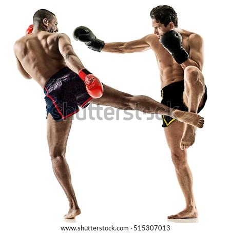 Muay Thai kickboxing kickboxer boxing men isolated Royalty-Free Stock Photo #515307013