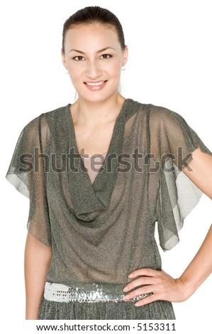 A beautiful mixed race woman in casual clothing on white background #5153311
