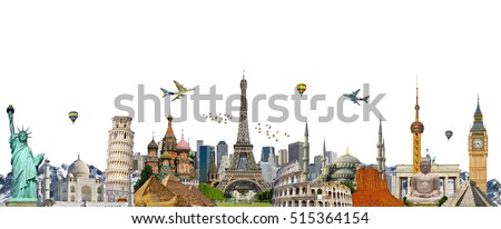 Famous landmarks of the world grouped together Royalty-Free Stock Photo #515364154