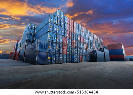 Industrial Container yard  for Logistic Import Export business Royalty-Free Stock Photo #515384434