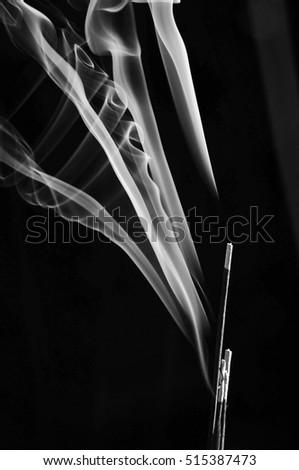 Grey smoke from aroma incense  #515387473