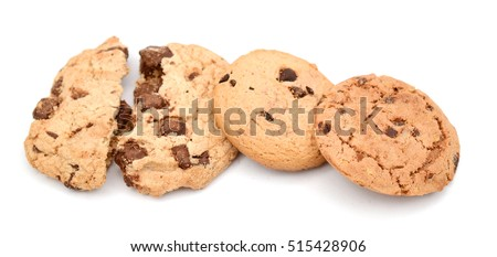 chocolate chip cookies isolated on white  #515428906