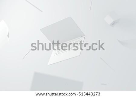 laptop white house pencil design creation paper workspace desktop  Royalty-Free Stock Photo #515443273