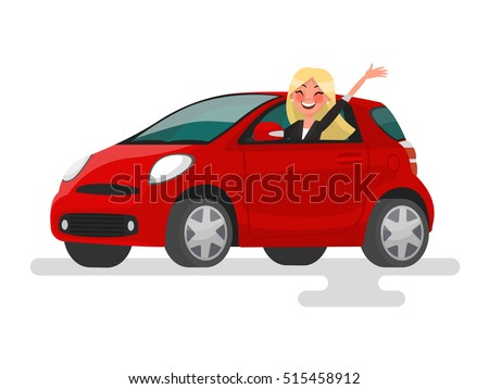 Riding on the machine. Happy blond woman rides in the car. Vector illustration in cartoon style