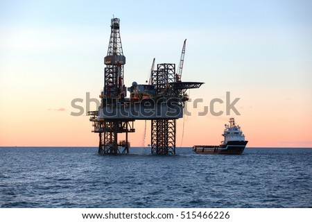 Offshore oil rig drilling platform #515466226