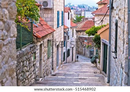 Old stone street of Split historic city, Dalmatia, Croatia Royalty-Free Stock Photo #515468902