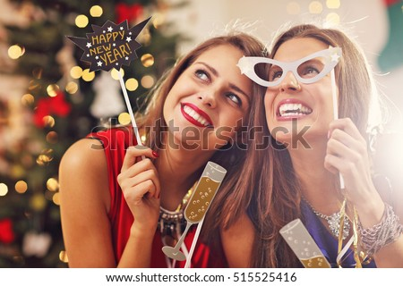 Picture showing best friends celebrating New Year #515525416