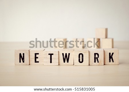 Network word on wooden cubes background, business and technology concept #515831005