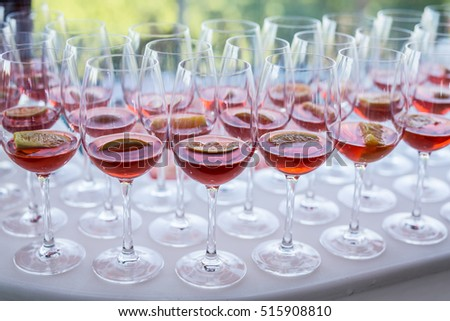 Glasses of wine. Banquet service. #515908810