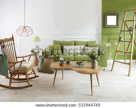 natural wood furniture green wall decor, modern lamp #515964769