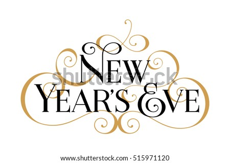 New Year's Eve. Handwritten modern brush black text, gold swirl, white background. Beautiful lettering invitation, greeting, prints, posters. Typographic inscription, calligraphic design vector Royalty-Free Stock Photo #515971120