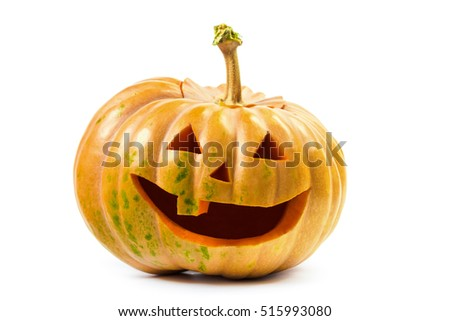 Halloween pumpkin's grin on white isolated background #515993080