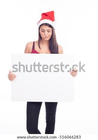 Christmas blank sign woman #516066283