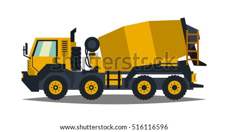 Concrete mixer. Yellow truck with special equipment. Isolated on white background. Construction machinery. Flat style #516116596