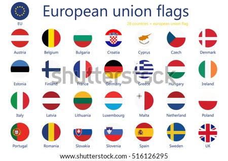 Vector illustration  set of european union flags with names. 29 flags+ eu flag.  #516126295