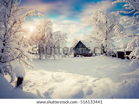 Sunny winter morning in the mountain village after heavy snowfall. Beautiful outdoor scene, Happy New Year celebration concept. Artistic style post processed photo.