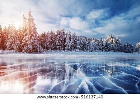 Cracks on the surface of the blue ice. Frozen lake in winter mountains. It is snowing. The hills of pines. Carpathian Ukraine Europe. Royalty-Free Stock Photo #516137140