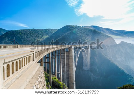 Bixby bridge,scenic ocean view point at Big Sur,highway 1 coastline scenic road,Carmel,California with horizon turquoise crazy wave of Pacific ocean with toned color and long exposure photographic Royalty-Free Stock Photo #516139759